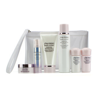 Harga Shiseido White Lucent Set: Cleansing Foam 50ml + Softener 75ml + Serum 9ml + Emulsion 15ml + Emulsion SPF 15 15ml + Cream 18ml + Bag 6pcs+Bag