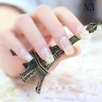 Harga Wedding Bride Full Nail Tips 3D False Stikers Gel Fake Nails Colour3