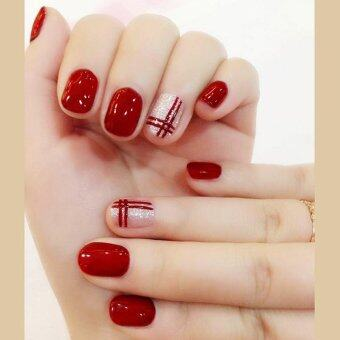 Harga 24 Pcs/set Fake Nail Bright Wine Red Double Line False Nails with Glue