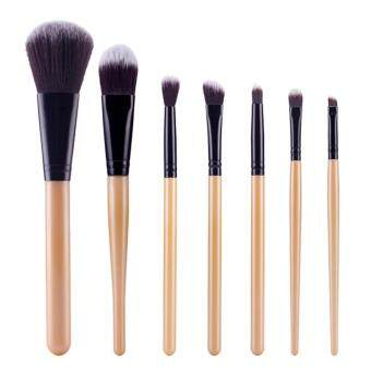 Harga 7Pcs Cosetic Powder Blush Brush Set (Gold Black)