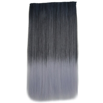 Harga One Piece Synthetic Straight Black to Gray Ombre Hairpiece Clip-on Wig Hair Extension Beauty Tool
