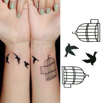Harga bird cage Removable Stickers Skull Roses Body Art Tatoo Temporary Arm Tattoos Waterproof