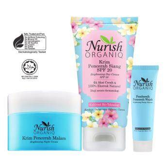 Harga Halal & Organic Whitening Cream: Nurish Organiq [Official] Day & Night Set with FREE Nurish Organiq Brightening Cleanser