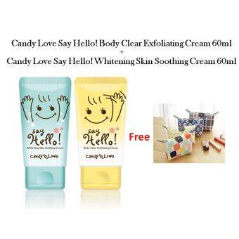 Harga Candy Love Say Hello! Body Clear Exfoliating Cream 60ml + Whitening Skin Soothing Cream 60ml