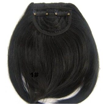 Harga Gorgeous Natural Clip in on Front Neat Bang Fringe Hair Extensions (Natural Black)