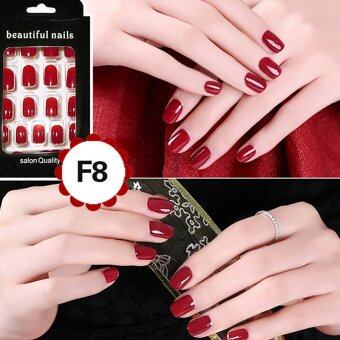Harga Cheap Fashion Fake Nails False Tips Full Acrylic French Art Designer 24 Pcs Nail Wine Red