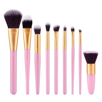 Harga MEGA 9Pcs Makeup Brushes Tool (Pink Gold)