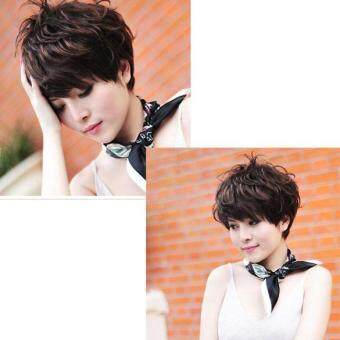 Harga Woen Hair Wig New Stylish Short Fluffy Short Curly Dark Brown Lady Full Wig