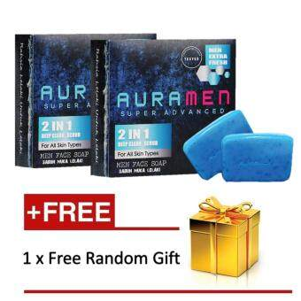 Harga 2 x Aura Men Super Advanced Auramen Face Soap 2 in 1 with Free Gift