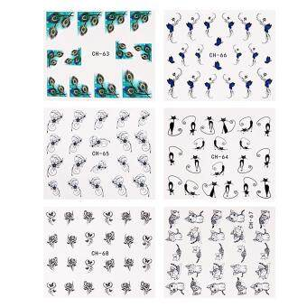 Harga Nail Art Sticker Water Transfer Stickers Flower Decals Tips 3D Decoration