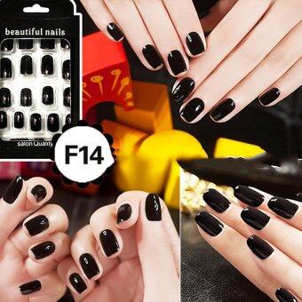 Harga Cheap Fashion Fake Nails False Tips Full Acrylic French Art Designer 24 Pcs Nail Black