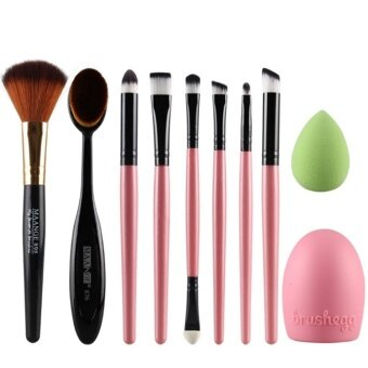 Harga 10pcs MANGE Oval Brush egg clean face wash healthy beauty make up color Eyeshadow consealer set (Pink)