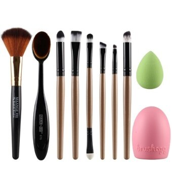 Harga 10pcs MANGE Oval Brush egg clean face wash healthy beauty make up color Eyeshadow consealer set (Gold)