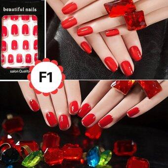 Harga Cheap Fashion Fake Nails False Tips Full Acrylic French Art Designer 24 Pcs Nail Red