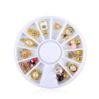 Harga 12pcs Magic 3D Nail Art Gold Flower Ring Decoration Alloy Pearl Jewelry Rhinestone (Multicolor)