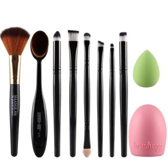 Harga 10pcs MANGE Oval Brush egg clean face wash healthy beauty make up color Eyeshadow consealer set (Black)