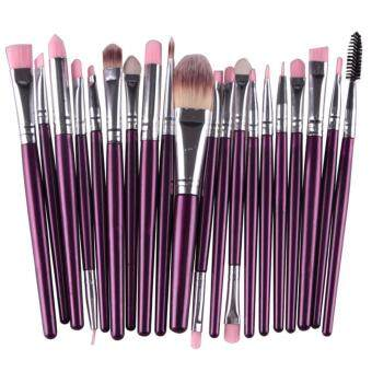 Harga PRO Beauty 20 PCS Makeup Brush Set Cosmetic Tools Foundation Eyeshadow Eye Flat Brushes Purple