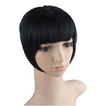 Harga Straight One Piece On Front Bang Fringe Hair Extensions Hairpieces Natural Short Wig Fashion Black 1B#