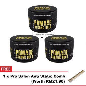 Harga [NEW] 3x Mensive POMADE Strong Hold Hair Style 150g + FREE Comb