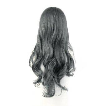 Harga USTORE Fashionable Full Lace Human Hair Wigs Women Front Wig Natural Lace Curl Hair gray