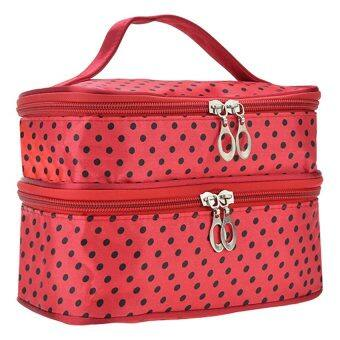 Harga Lady's Double-Deck Dot Pattern Make-up Portable bag(Red)