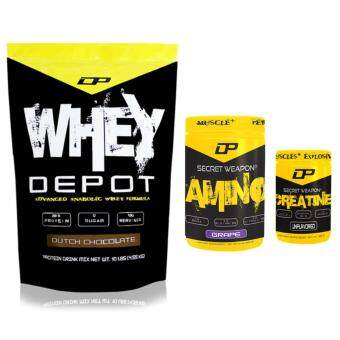 Harga Whey Protein Combo – Whey Depot 10lb/4.6kg, 28g Protein Per Serving (Dutch Chocolate) + Secret Weapon 100% Creatine 300g, 60 Servings (Unflavored) + Secret Weapon Amino, 7g BCAA, 5g Glutamine, 3g Citrulline 908g, 53 Servings (Grape) Made in USA