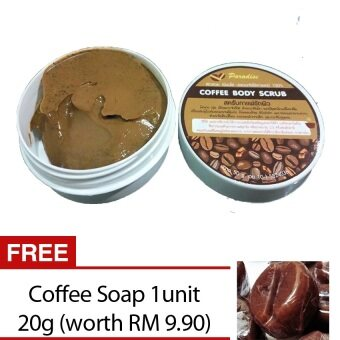 Harga PARADISE COFFEE BODY & FACE SCRUB (NON CHEMICAL) REDUCECELLULITE ,ACNE & WHITENING SKIN 50G (FREE COFFEE SOAP)