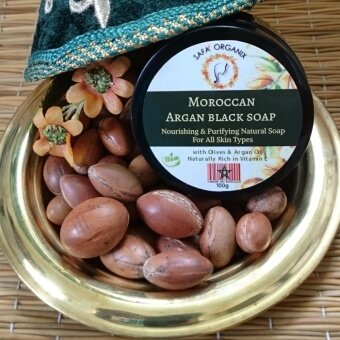 Safa' Organix Moroccan Black Soap with Argan Oil | Natural & Purifying Natural soap | For all skin Types (100g). Comes with free gift (Random souvenir of Morocco)