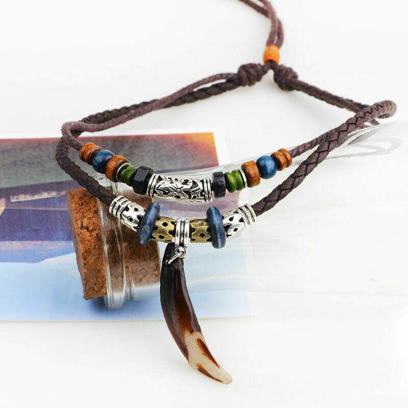 Bohemia Wolf Tooth Pendant Leather Charms Beaded Weaved Prayer Necklace Jewelry