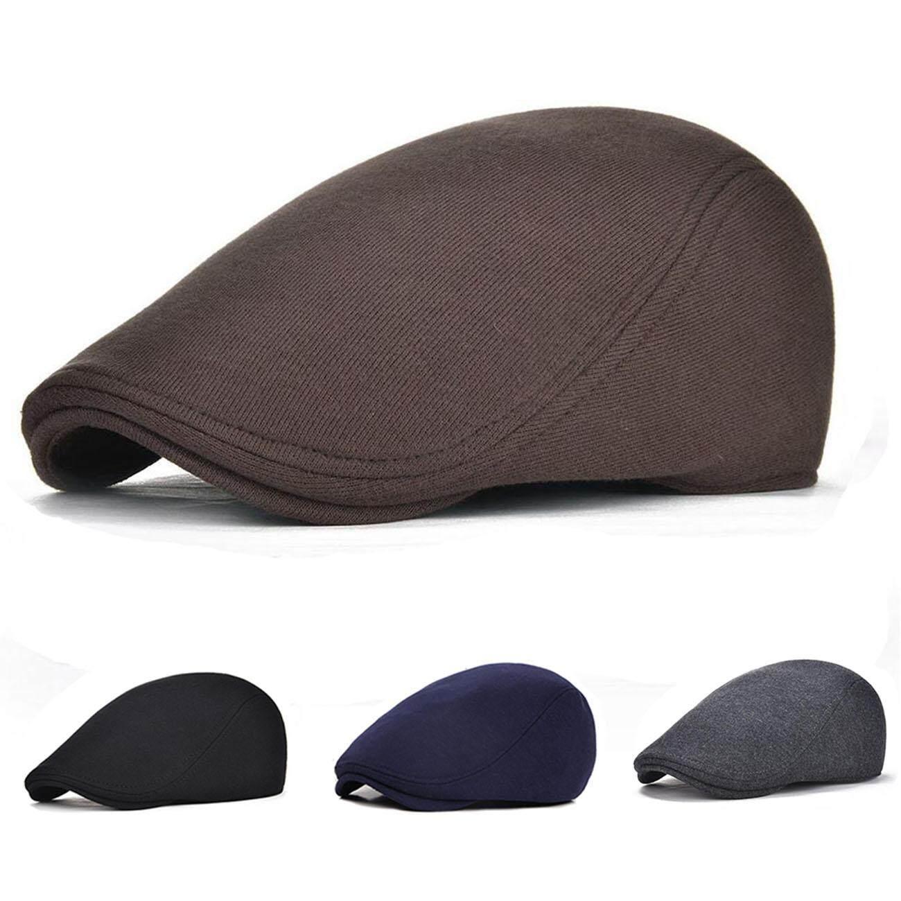 Men Cotton Adjustable Newsboy Beret Ivy Cap Cabbie Flat Cap