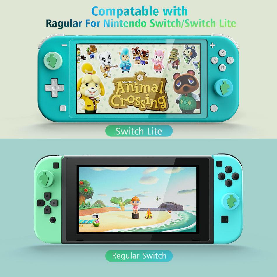 Nintendo Switch Lite Animal Crossing Green Leaf Thumb Stick Grips