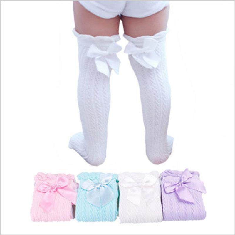 026399641 Baby Cute Lace Baby Toddler Girls Cotton Knee High Socks Bowknot ...