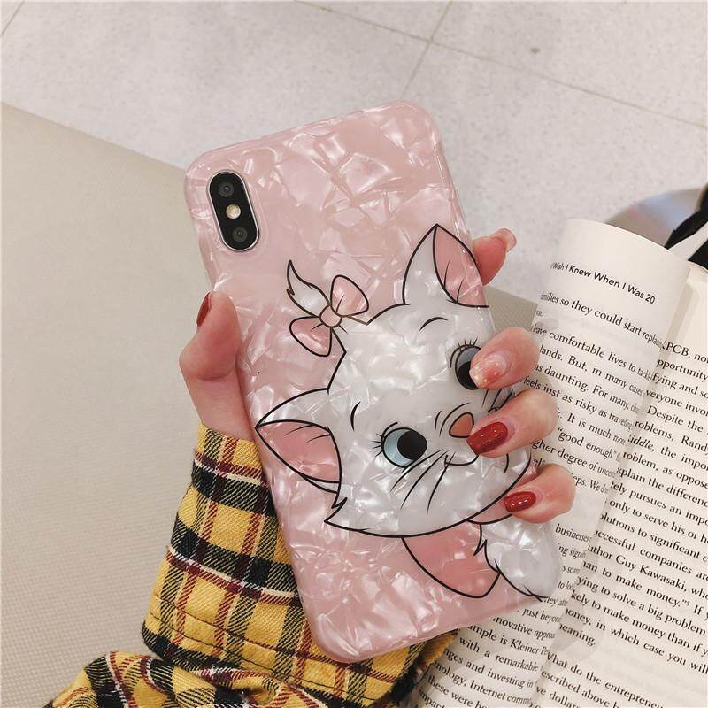 Cute Pink Marie Cat Conch Shell Phone Case for Iphone X XR XsMax Back Cover  Lovely Funny Case