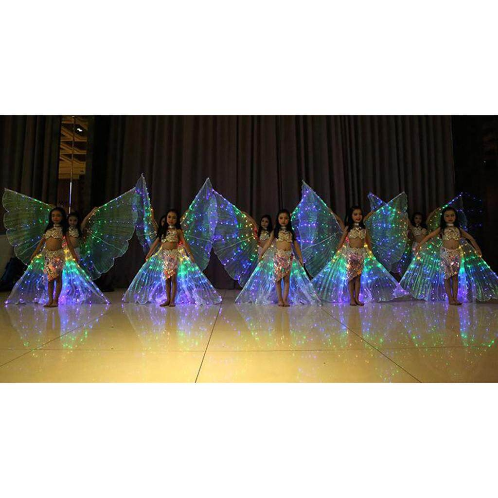 Children LED Belly Dance Wings Colorful Butterfly Wings with Telescopic Stick