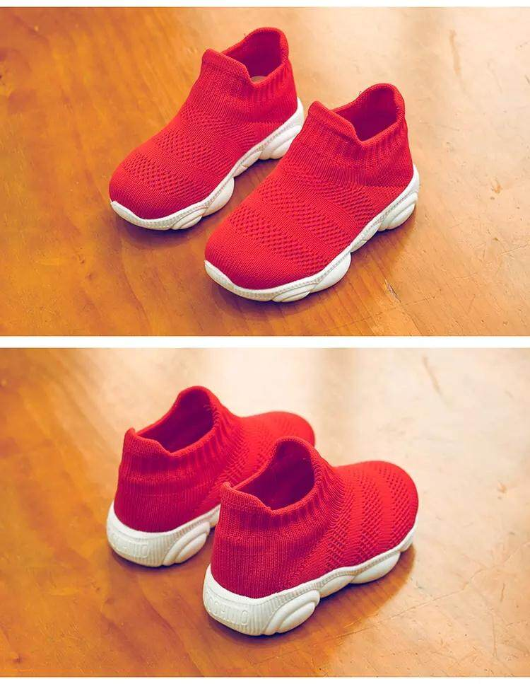 New Children Shoes Girls Sneaker For Running Boys Shoes Outdoor Anti-slippery Breathable Fly Knit Kids Socks Shoe Sneaker Mother & Kids