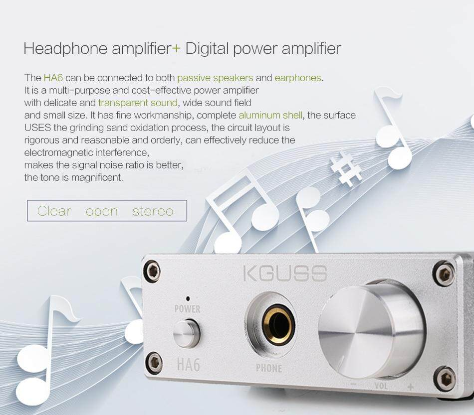 KGUSS HA6 TPA3116D2 NE5532 MINI HIFI High Power Audio Amplifier with  Headphone Output AMP 50W*2 Amplificador Classe D