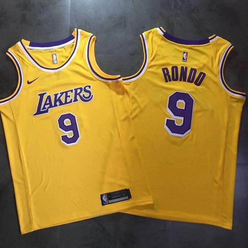best sneakers ee091 9a04c Men and Women NBA Basketball Uniform All-star Los Angeles Lakers Team No. 9  Jerseys RONDO Students Sports Basketball Vest(retro yellow)