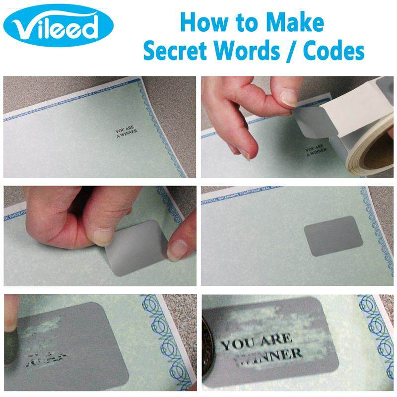 Vileed 1000pcs Scratch Off Stickers Self Adhesive Silver Label Cover to  Hide Square QR Code Secret Words Vendor Awards DIY Raffle Gift Card Packing