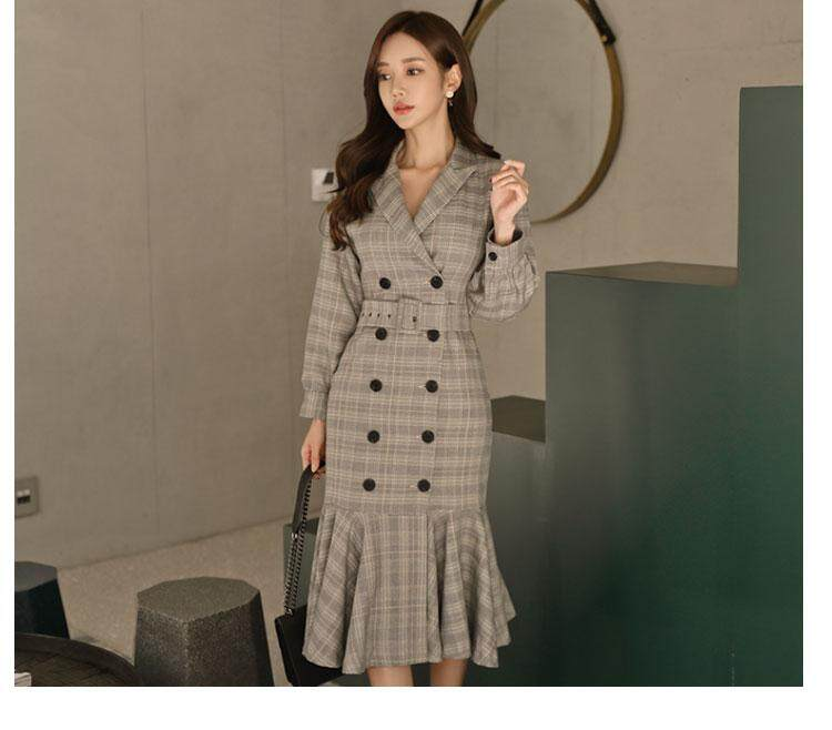 c447f7c1cc67 Women Dress Suits Long Blazer and Jacket Double Breasted Slim ...