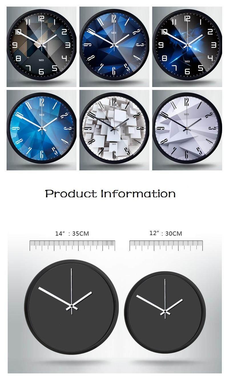 35 35cm Creative Modern Geometric Round Wall Clock Silent Clocks Home Office Decor Lazada