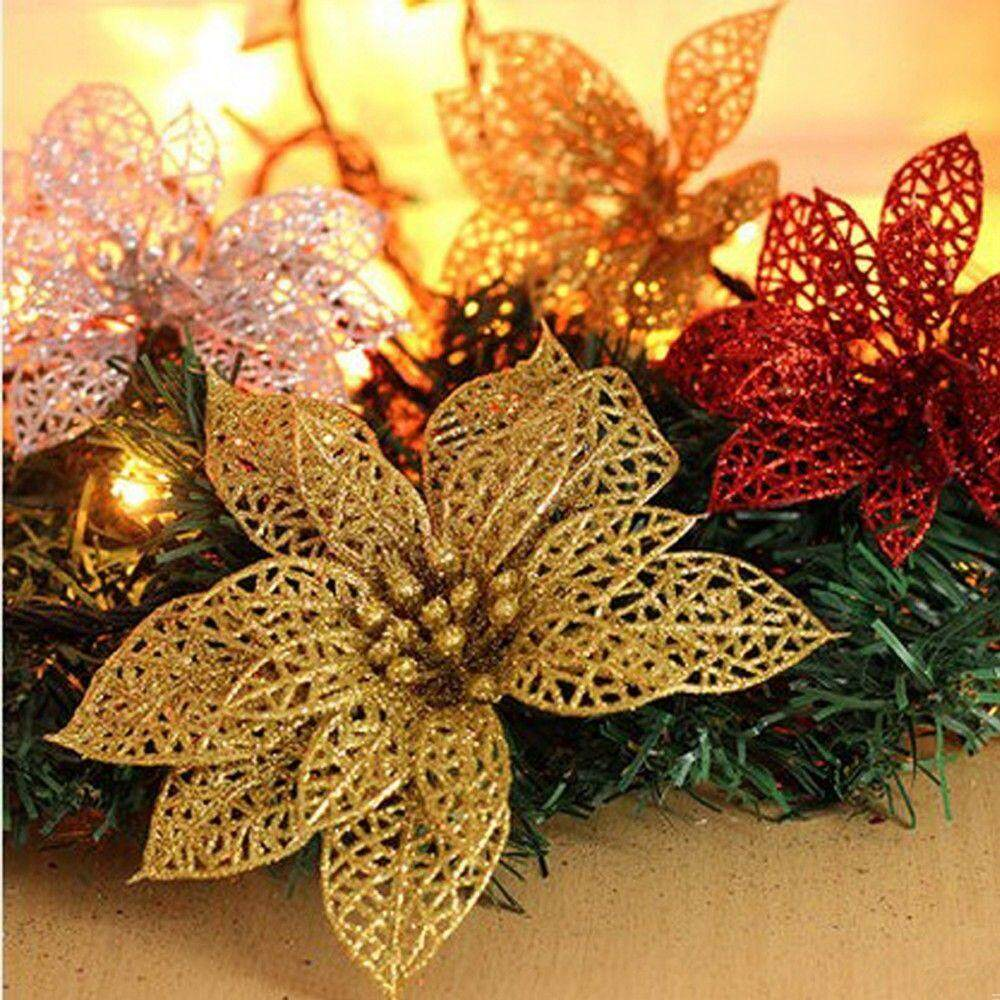 Christmas Flower Decorations.New Hot Glitter Hollow Wedding Party Decor Christmas Flowers Xmas Tree Decorations