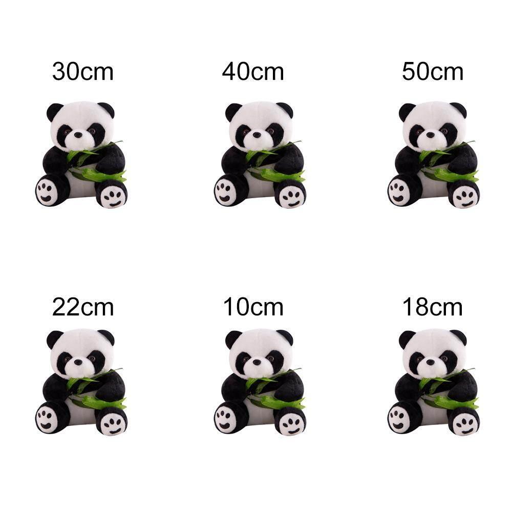 [Berpikir] Hidup Lucu Panda Dengan Bambu Daun Boneka Mewah Lembut Kartun Binatang Panda Liontin Boneka Boneka Anak Hadiah