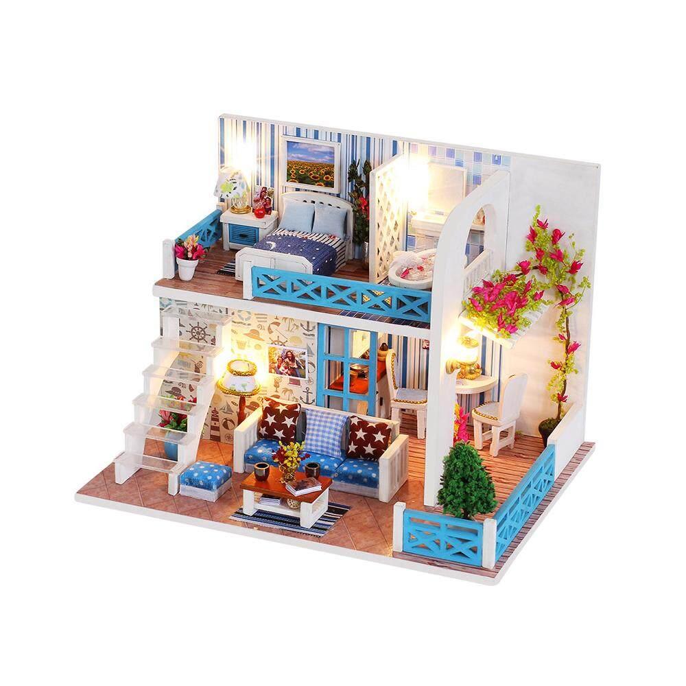 DIY Dollhouse Kit Furniture Lot Miniatures Wooden Doll House Rotating Music Box