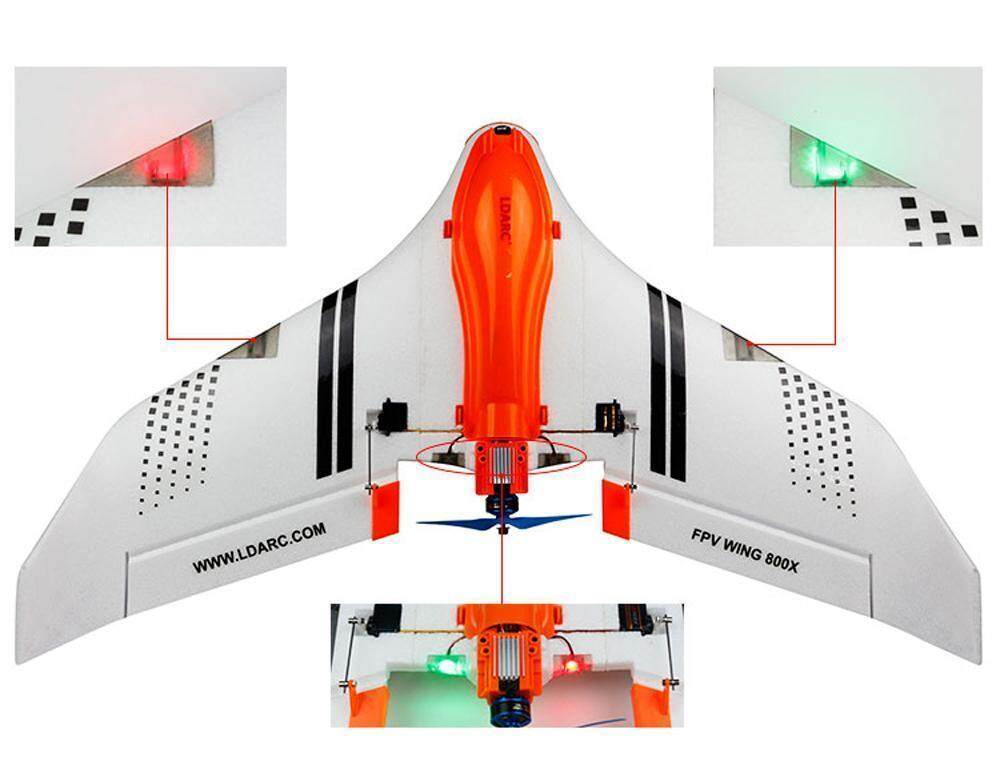 LDARC FPV WING 800X 768mm Wingspan EPO FPV RC Airplane Kit with LED Lampshade BD
