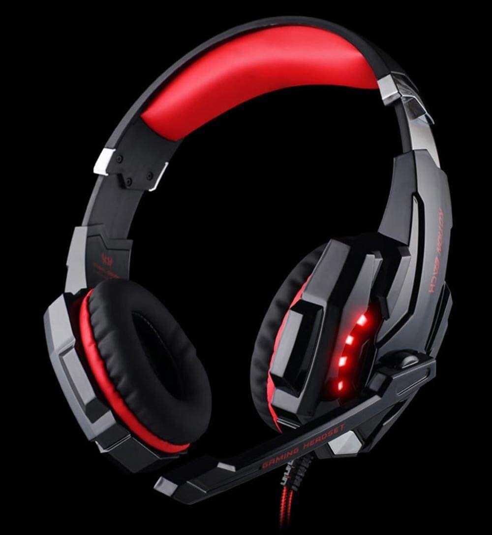 KOTION EACH G9000 Gaming Headphone 3.5mm Game Headset Headphone for PS4 with Mic LED Light- Red with Black