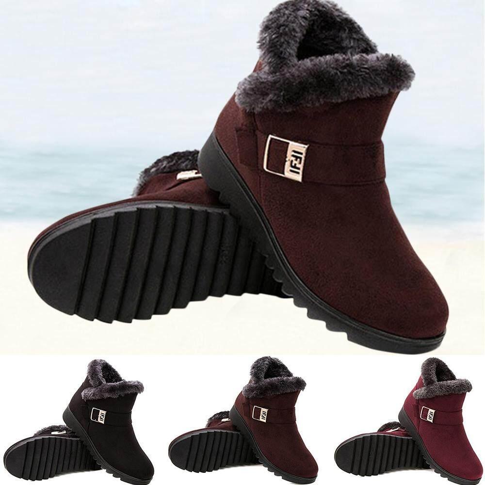 hot-selling provide plenty of durable in use Women Winter Warm Waterproof Anti Slip Ankle Boots Women Warm Fur Footwear  Comfortable Snow Boots Mother Shoes Plus Size