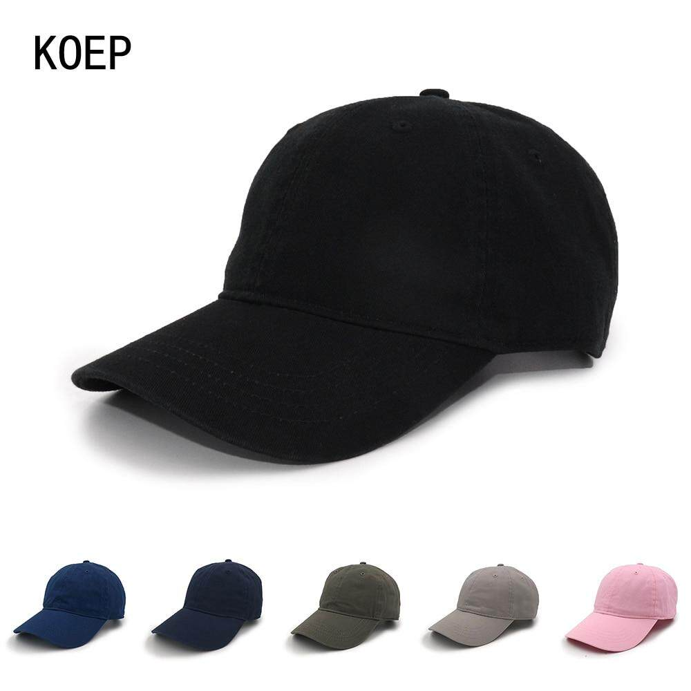 b6fce2c2aae38 KOEP High Quality Washed 100% Cotton Adjustable Solid Color Baseball ...