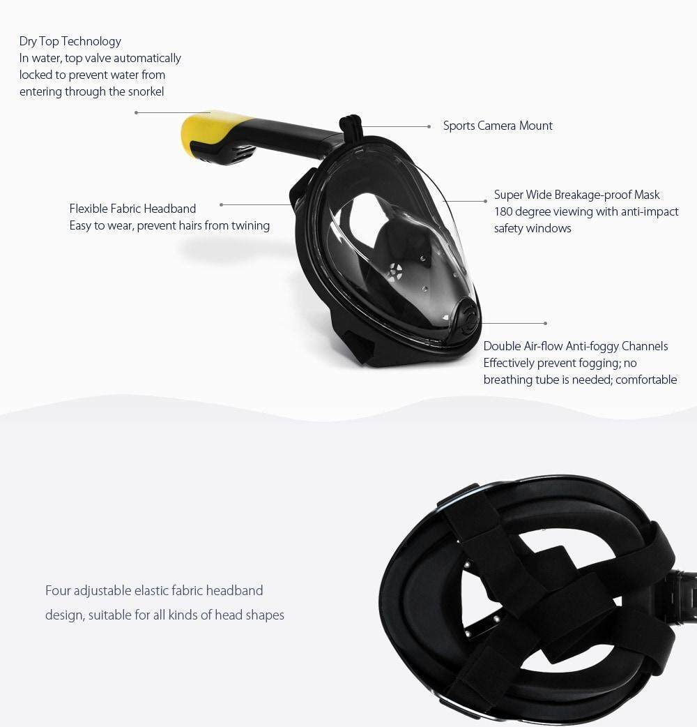 M2068G Full Face Snorkel Mask Water Sports Diving Equipment for Action Camera DV- Black L / XL