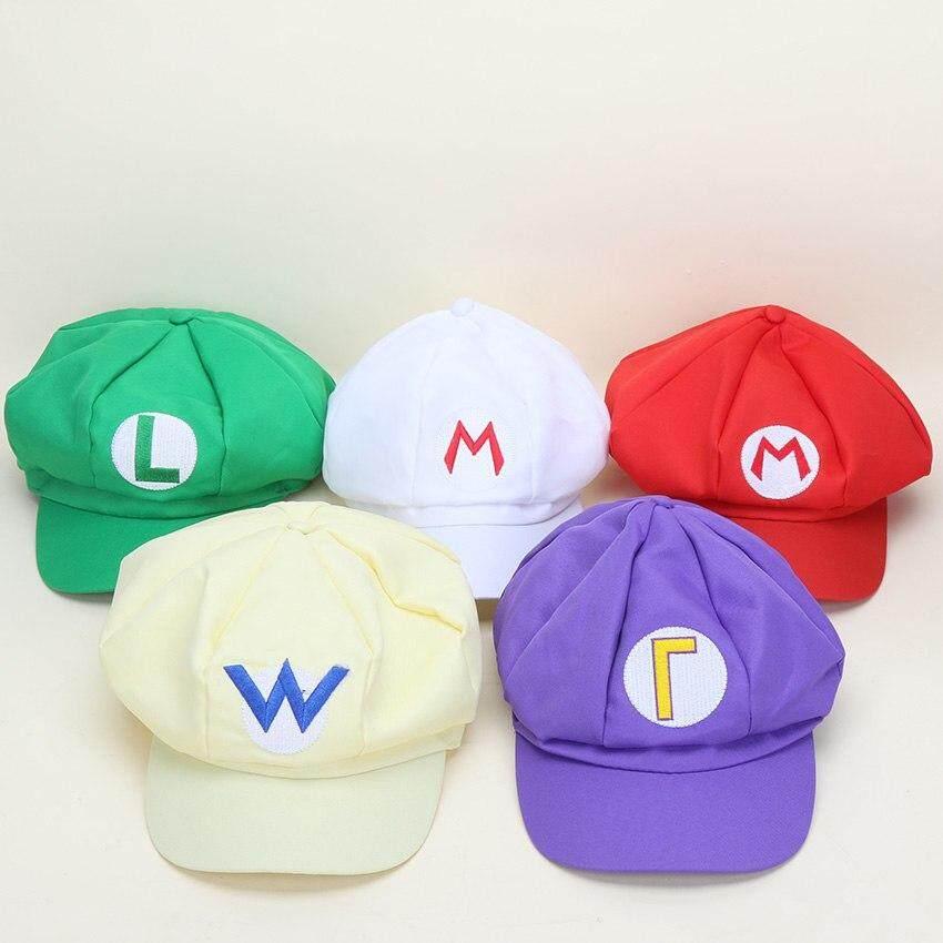 5ee5833fa2dd 5pcs Super Mario Red Mario and luigi cap 5 colors Anime Costume Buckle Hats  Adult Plush Toys