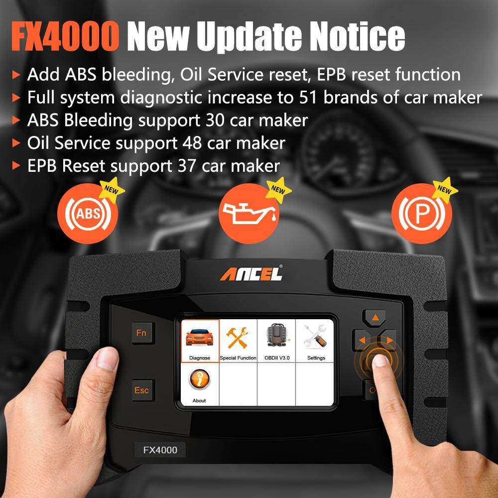 Ancel FX4000 OBD2 Scanner Full Systems Car Diagnostic Tool Check Engine  Airbag Transmission Clear Codes Reader ABS / OIL / EPB Reset ODB2  Automotive